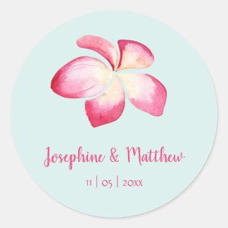 Tropical Plumeria Pink Watercolor Wedding Stickers