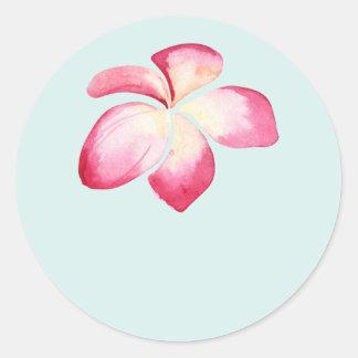 Tropical Plumeria Pink Wedding Favor Stickers