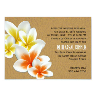 Tropical Plumeria Wedding Rehearsal Dinner Card