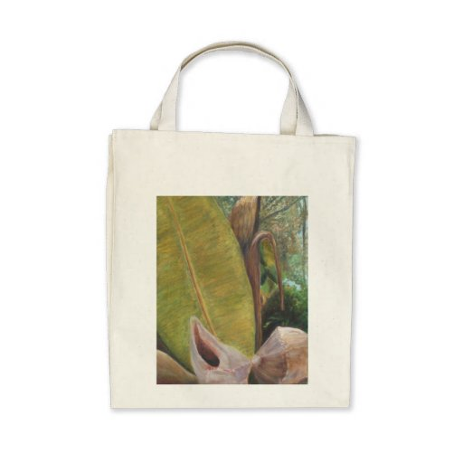 TROPICAL PORCH VIEW Organic Grocery Tote Canvas Bag