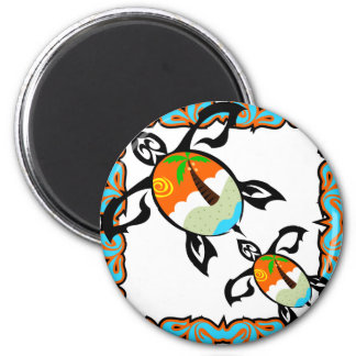 Tropical-print-turtle Magnet