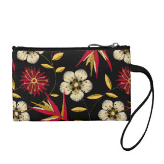 Tropical printed embroidery floral coin purse
