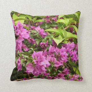 Tropical Purple Bougainvillea Throw Pillow