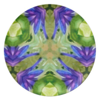 Tropical Purple Green Artistic Abstract Plates