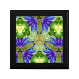 Tropical Purple Green Artistic Abstract Small Square Gift Box