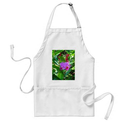 Tropical Purple Hawaiian Flower Apron