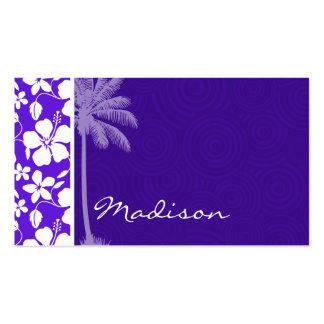 Tropical Purple Hibiscus Double-Sided Standard Business Cards (Pack Of 100)