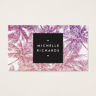 Tropical Purple/Pink Glitter Palms Business Card