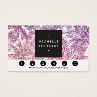 Tropical Purple/Pink Glitter Palms Loyalty Card