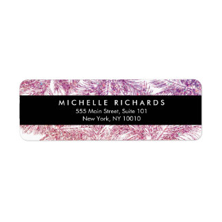 Tropical Purple/Pink Glitter Palms Return Address Label