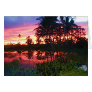 Tropical Rainbow Sunset Card