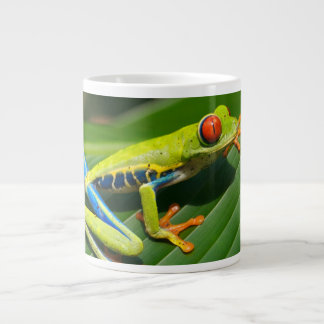 Tropical rainforest green red-eyed tree Frog Giant Coffee Mug