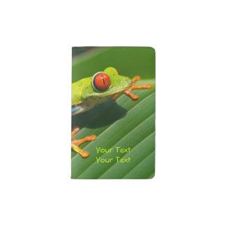 Tropical rainforest green red-eyed tree Frog Pocket Moleskine Notebook
