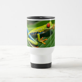 Tropical rainforest green red-eyed tree Frog Travel Mug