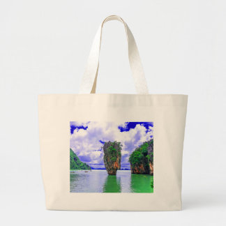 Tropical Rainforest Island Cliffs Large Tote Bag