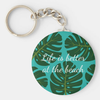 Tropical rainforest Monstera palm leaf keychains