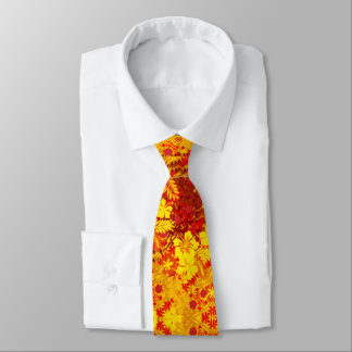 Tropical Red and Gold Abstract Hibiscus Tie
