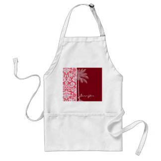 Tropical Red Damask Standard Apron
