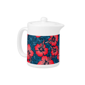 Tropical red flowers on navy