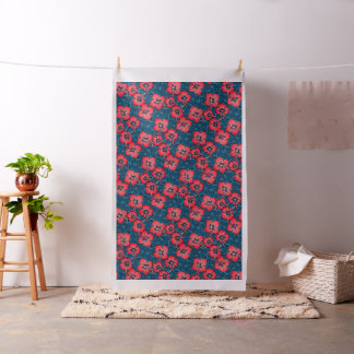 Tropical red flowers on navy fabric