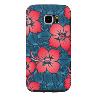 Tropical red flowers on navy samsung galaxy s6 cases