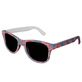 Tropical red flowers on navy sunglasses