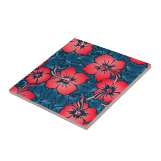Tropical red flowers on navy tile
