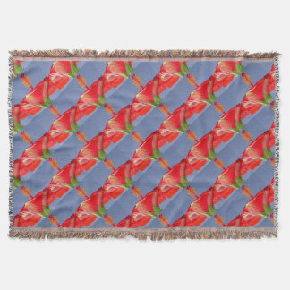 Tropical red Hibiscus Flower Against Blue Sky Throw Blanket