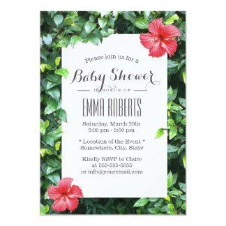 Tropical Red Hibiscus Flowers Baby Shower 13 Cm X 18 Cm Invitation Card