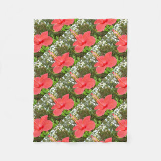 Tropical Red Hibiscus Rose Mallow Fleece Blanket