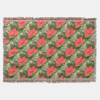 Tropical Red Hibiscus Rose Mallow Throw Blanket