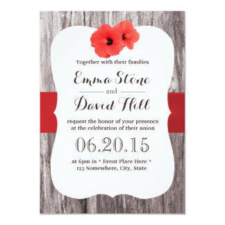 Tropical Red Hibiscus Wood Background Wedding Custom Announcement