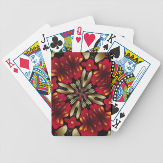 Tropical Red Mandala Kaleidoscope Bicycle Playing Cards