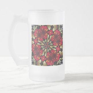 Tropical Red Mandala Kaleidoscope Frosted Glass Beer Mug