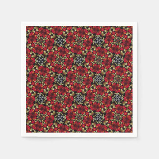 Tropical Red Mandala Kaleidoscope Paper Napkin