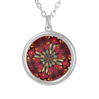 Tropical Red Mandala Kaleidoscope Silver Plated Necklace