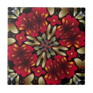 Tropical Red Mandala Kaleidoscope Small Square Tile