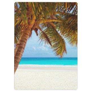 Tropical Relaxing Beach Palm Scene Clipboard