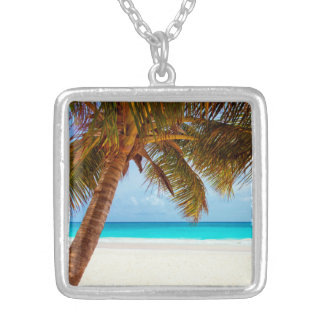 Tropical Relaxing Beach Palm Scene Silver Plated Necklace