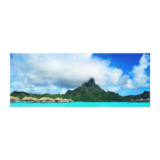 Tropical resort on Bora Bora canvas panorama