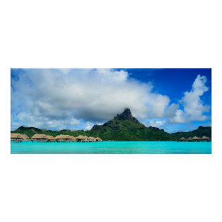 Tropical resort on Bora Bora poster panorama