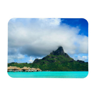 Tropical resort on Bora Bora rectangular magnet