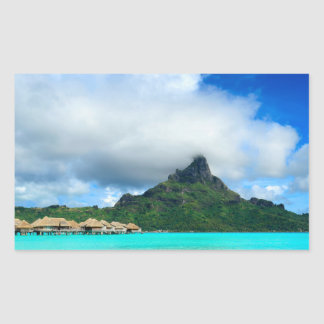 Tropical resort on Bora Bora rectangular sticker