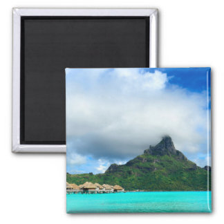 Tropical resort on Bora Bora square magnet