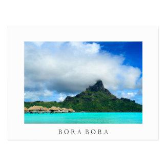 Tropical resort on Bora Bora white postcard