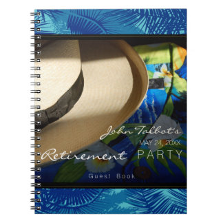 Tropical Retirement with Blue Palms GuestBook Note Books