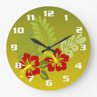 Tropical Retreat inspired design Hibiscus and lime Large Clock