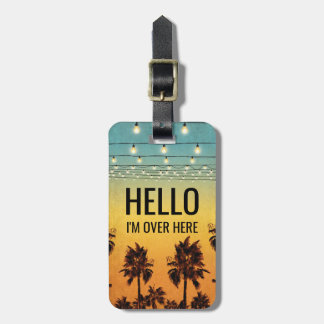 Tropical Retro Mens Personalized Ombre Travel Luggage Tag