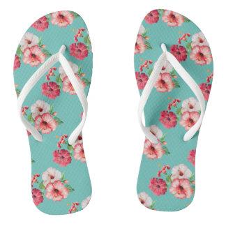 Tropical retro summer flowers thongs