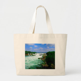 Tropical River Waterfall Large Tote Bag